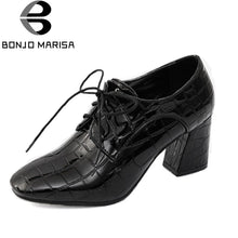 BONJOMARISA Women's Chunky Heels Square Toe Lace Up Patent Printed Upper Spring Shoes Woman Vintage Pumps Big Size 34-43