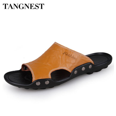 Tangnest 2018 Summer New Men Slippers Cow Split Leather Soft Beach Slides Casual Outdoor Comfort Sandals Man Flat Shoes XWT268