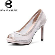 BONJOMARISA Top Quality Big Size 34-43 Peep Toe Thin High Heels Air Mesh Summer Shoes Women Pumps Sexy Party Shoes Woman