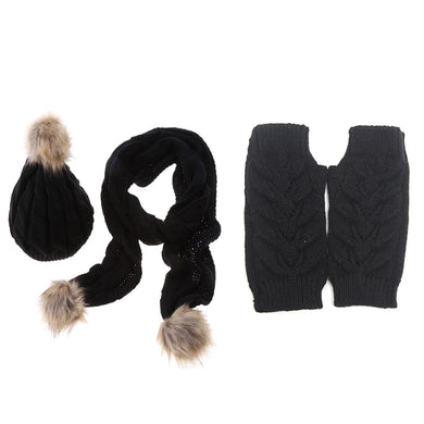 Women's Beanie Hat Scarf Gloves Knitted Warm Autumn Winter Thermal Set