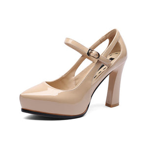 BONJOMARISA Brand New Genuine Leather Mary Janes High Heels Solid Buckle Strap Shoes Woman Casual Office Pumps Big Size 33-40