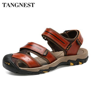 Tangnest 2018 New Summer Men Sandals Hook Loop Genuine Leather Men Cow Leather Beach Sandals Casual Gladiators Flats XMR2816