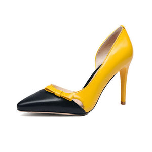 BONJOMARISA New women's Genuine Leather Pointed Toe Thin High Heels Shallow Bowtie Shoes Woman Casual Spring Size 334-39
