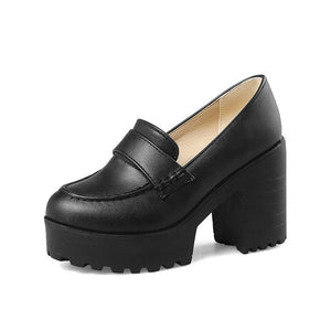 BONJOMARISA 2018 Big Size 34-43 Platform Spring Summer Shoes Woman Pumps Fashion Square High Heels Black Women Shoes Footwear