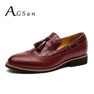AGSan Burgundy Men Dress Shoes Brogue Oxfords Slip On Tassel Dress Loafers Handmade Classic Wedding Party Oxfords Shoes Italian
