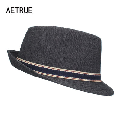 AETRUE New Men Fedoras Felt Hats For Men Caps Gorros Chapeu Boater Wide Brim Panama Fashion Fedoras Top Cap Hat