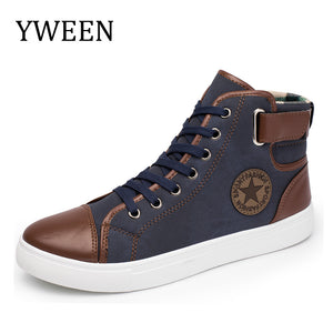 YWEEN Fashion Sneakers For Men Classic Lace-up High Style Vulcanized Flat With Casual Shoes