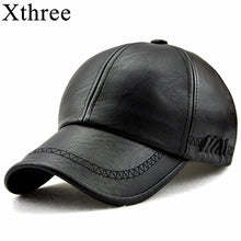 Xthree New fashion high quality spring winter Faux leather baseball cap for men casual moto snapback hat men's hat Cap wholesale