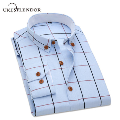 2018 Plaid Long Sleeve Men Casual Shirts Cool M-5XL Business Wedding Party Man Dress Shirt Cotton Brand Tops Male Camisa YN10317