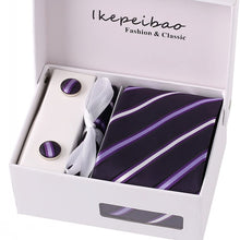 Ikepeibao Custom Personalized Men's Formal Necktie Cufflink Hankerchief Checked Jacquard Woven Ties Sets
