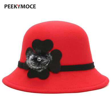 Peekymoce Solid Wool Bowler Hat Women Bonnet Fedora Hat Female Flower Trilby Hat Felt Hats For Women Chapeau Femme Cap
