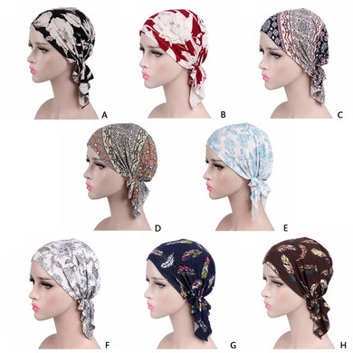 Womens Chemo Hat Turban Head Scarves Pre-Tied Floral Printed Headwear Beanie New