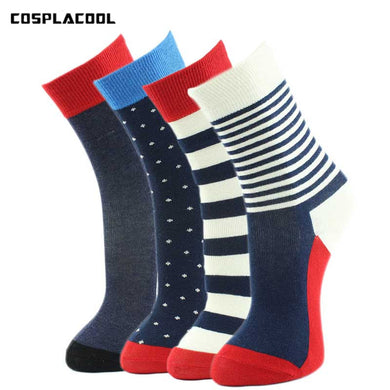 [COSPLACOOL]Stripe/Point/Pure Color Meias 4 Style College High Quality Fashion Comfortable Fringe Combed Cotton Men Socks No Box