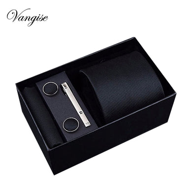 2018 Fashion 8cm Wide Tie Sets Black/blue/red Men's Neck Tie Hankerchiefs Cufflinks 24 colours Box gift polyester silk handmade