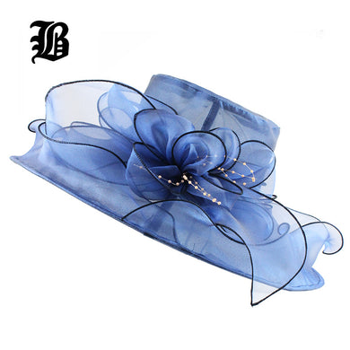 [FLB] Brim Foldable Wedding Dress Hats Beach Summer Fashion Hats For Women Gorras Sun Trilby Cap Sun Derby Hat F305