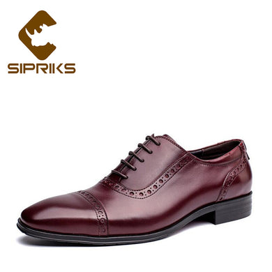 Sipriks Men Shoes Black Leather Shoes Carved Burgundy Dress Shoes Men Business Flats Oxfords Suits Men Shoes European New