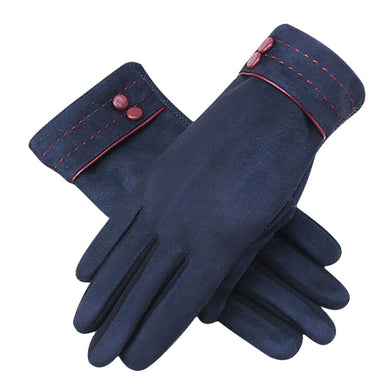 Womens New Screen Touch Gloves Suede Cold Weather Texting Gloves Outdoor Driving Gloves Color:Blue
