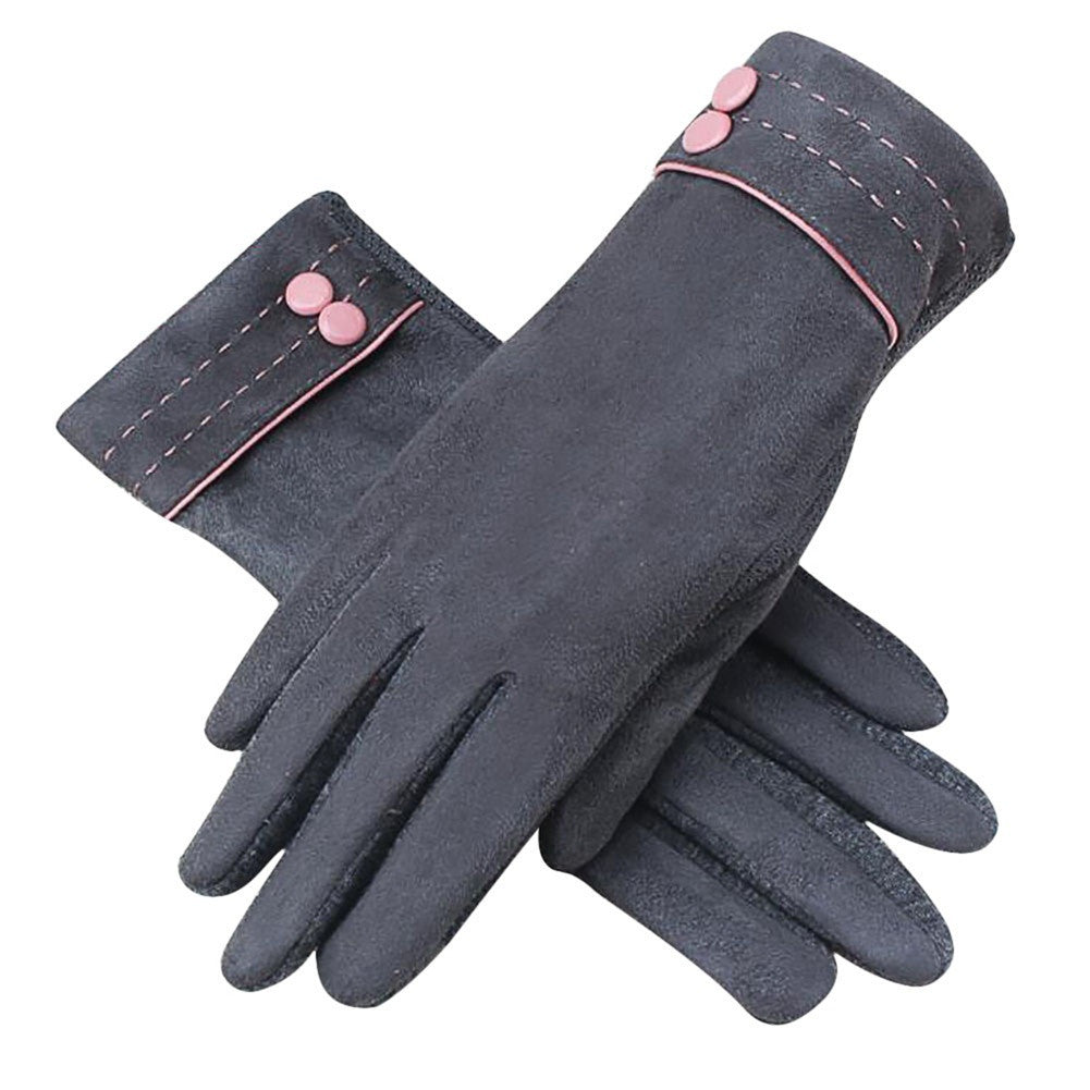 Womens New Screen Touch Gloves Suede Cold Weather Texting Gloves Outdoor Driving Gloves Color:Grey