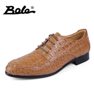 BOLE 38-50 Large Size Handmade Leather Men Shoes Fashion Designer Lace Up Men Dress Shoes Party Wedding Flats Shoes Men Footwear