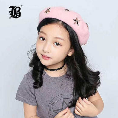 [FLB] 2018 Baby girls Autumn Winter Hats Children Wool Berets Girls Stars Fashion Cap Children's Painter Cap French Cap F160