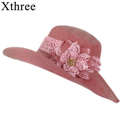 Xthree chapeu feminino sun hat for women Design Flower Foldable summer hat beach Vintage Sinamay Fascinator