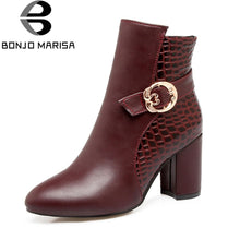 BONJOMARISA women's Western Fretwork Ankle Booties Women Autumn Winter 2018 New Large Size 33-43 High Heels 8 Cm Shoes Woman
