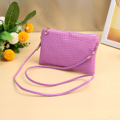 New Women Small Shoulder Bag PU Leather Crocodile Patten Zipper Crossbody Bag Purse Black/Dark Blue/Rose/Purple