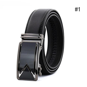 Men Belt Cowhide Leather Belts For Men Luxury Automatic Buckle Belts