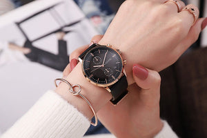 2018 GUOU Brand New Arrival Women Calendar Watches Luxury Quartz Watch Big Dial Genuine Leather Wristwatches