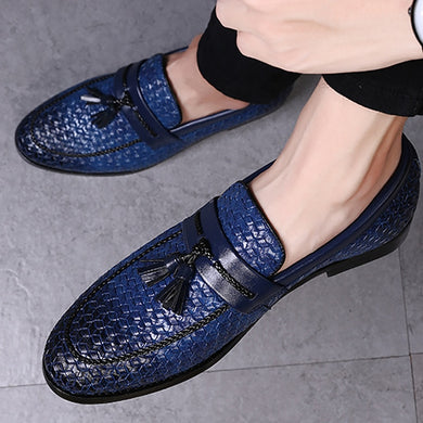 Large size 38-48 tassel plaid men loafers weaving comfortable soft mens leather shoes 2019 fashion sapato masculino