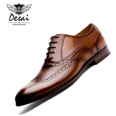 DESAI Brand Full Grain Leather Men Oxford Shoes British Style Retro Carved Bullock Formal Men Dress Shoes Size 38-47