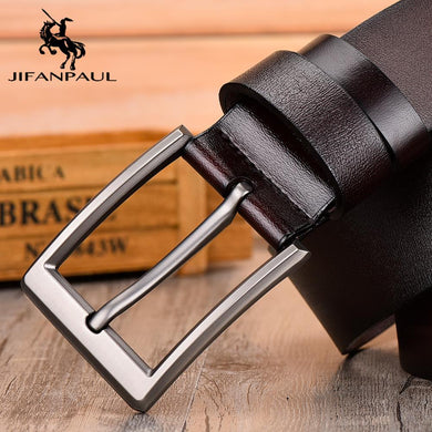 JIFANPAUL leather men's belt classic pin buckle design fashion jeans decorative high quality new belt