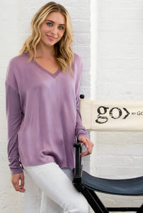 ICONIC go tee vee top, sale colors - Machine washable pull over silk charmeuse tee with wide vee neckline, rib knit neckline trim and finished with our signature raw edge hems. This is our best-selling ICONIC style.