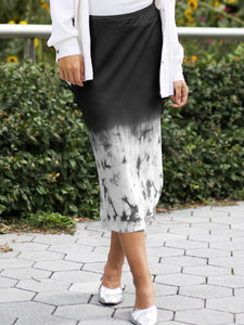 Go shirttail it outta here skirt print 2 - Machine washable pull on boho-inspired silk midi skirt with high low baseball raw edge hem, a velvet elastic waistband at a mid-calf length. This item features a faded to black white marble exclusive print design.