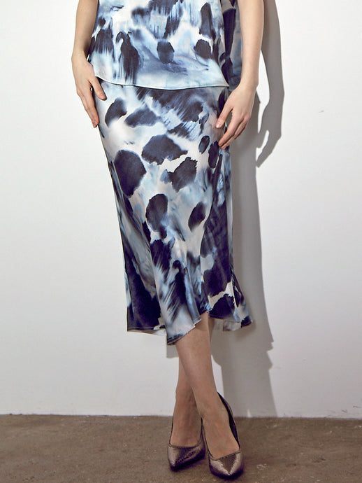 ICONIC go luxe bias skirt print 2- Machine washable silk charmeuse midi length skirt that has a bias cut and asymmetrical seamed hem and a velvet elastic waistband. This item has an abstract brush stroke exclusive print design.