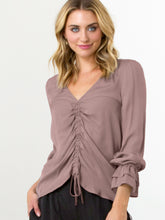Load image into Gallery viewer, go draw it up top - Machine washable pullover silk drawstring top has a vee neck with front drawstring detail and a double-layer ruffle and elasticized cuff.