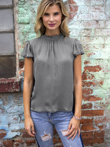 Go vintage tee - Machine washable silk georgette tee with ruffle neckline and softly flared short sleeves with picot edge trim and back keyhole opening and has an exclusive crackle texture print design.