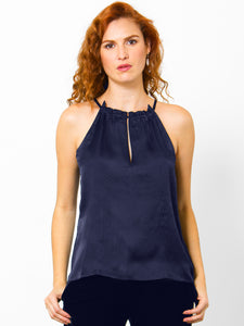 go dressed to kill tank - Machine washable silk tank top with cut in arm holes, spaghetti straps and a ruffle trim neckline. Concealed snap at back neck and a textured silk with a soft shine.