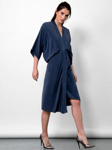 Go kimono dress - Machine washable pull over style silk charmeuse kimono inspired dress with dramatic blouson draping and asymmetrical details. It has a deep v-neck with dolman kimono sleeves at an elbow length and asymmetrical hem.