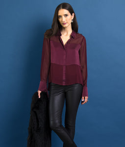 Go master of illusion top - Machine washable silk blouse that has an Origami cuff detail and mixed media silks. It also features soft shirttail hem with concealed snap placket and point collar.