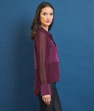 Load image into Gallery viewer, Go master of illusion top - Machine washable silk blouse that has an Origami cuff detail and mixed media silks. It also features soft shirttail hem with concealed snap placket and point collar.