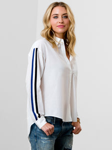 Go racing stripe shirt - silk cotton mix shirt featuring a contrast racing stripe with point collar, full button front, barrel cuffs with button and a soft shirttail shape with high low hem.