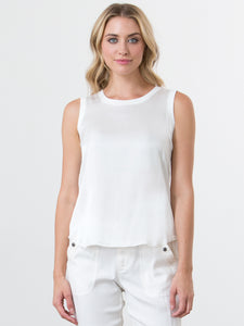Go totally biased tank - Machine washable bra-friendly and sleeveless child charmeuse tank top with silk blend knit. It has a front silk panel, a back knit panel and a knit rib neckline and armhole trim. It also has a scoop neck with curved raw edge trim hem.