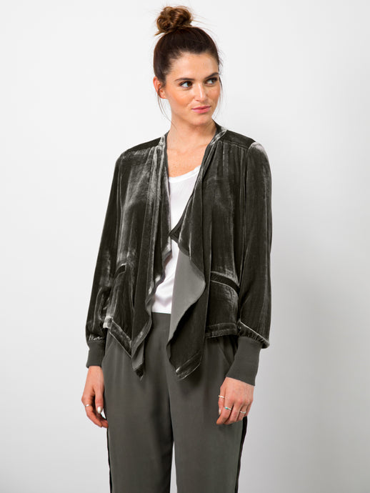 Go velvet waterfall blazer - Hand wash or dry cleanable 82% rayon and 18% silk velvet blazer with silk raw edge trim and cotton rib trim. It has a waterfall neckline with no front closure and an elongated athletic rib cuff that has waist slit pockets with an asymmetrical hem.