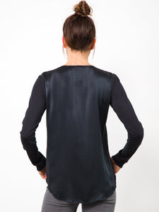 ICONIC go zippy redux - Machine washable pull over silk charmeuse top with metal zipper detail and finished with our signature raw edge hems for this best selling ICONIC style.