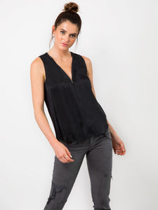 ICONIC go zippy tank luxe - Machine washable pull over silk charmeuse sleeveless top with metal zipper detail and finished with our signature raw edge hems. This is our best selling ICONIC style.