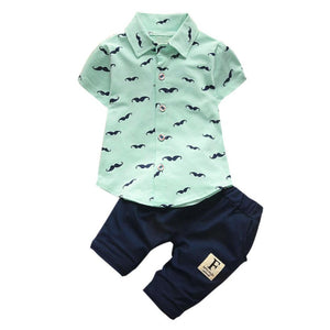 Baby Kids Boys set baby boy clothes gentleman trousers t-shirt suit Toddler Kids Baby Boys Beard T Shirt Tops+Shorts Drop ship