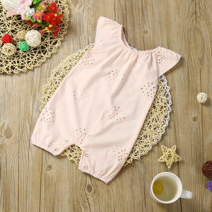 Baby Girls Romper Jumpsuit Outfits Baby girls romper clothes Hollow lace solid color Pink jersey Clothes Summer Romper 2017