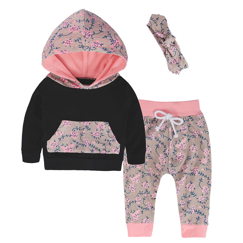 NEW PRODUCT!! 2019 Autumn girls matching hooded floral sweatshirt, sweatpants, and headband!!! Cotton blend