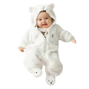Your baby will look as sweet as honey in this adorable cotton blend bear romper!!